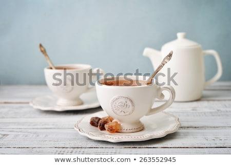 Thé temps alimentaire table plaque noir Photo stock © haak78