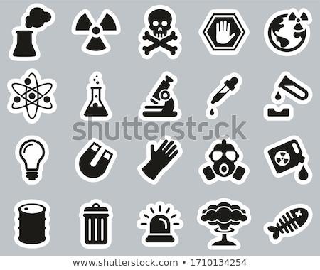 Nucleaire explosie lijn icon vector geïsoleerd Stockfoto © RAStudio