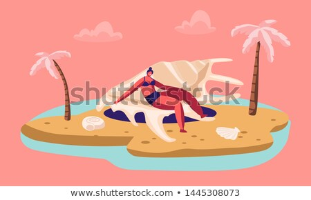 Tanned young woman having sunbath on the beach vector illustration. Stock photo © maia3000