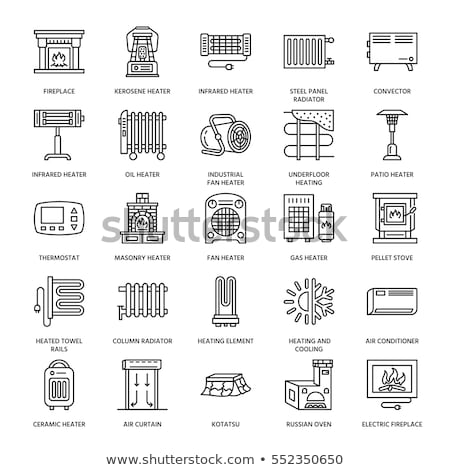 Oil heater, fireplace, convector, panel column radiator and other house heating appliances line icon stock photo © Nadiinko