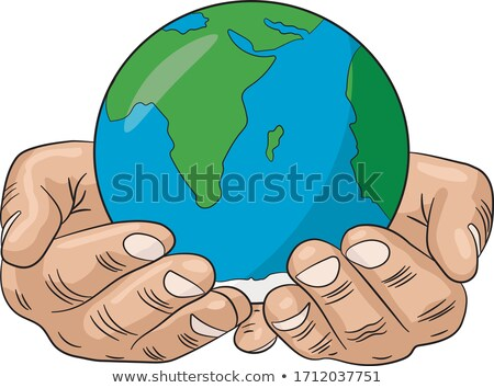 Stockfoto: Business Man Holding Globe Vector Illustration