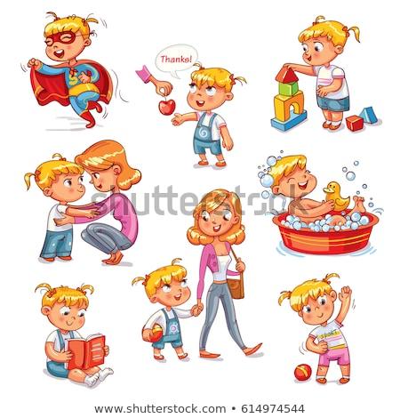 Kinderen gezegde beleefd woorden illustratie meisje Stockfoto © bluering
