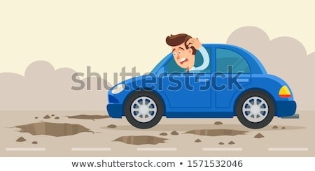 mal · asfalto · carretera · verde · campo · cielo · azul - foto stock © psychoshadow