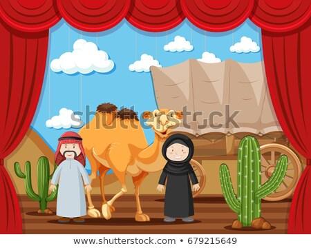 Etapa jugar dos personas jugando desierto ilustración Foto stock © bluering