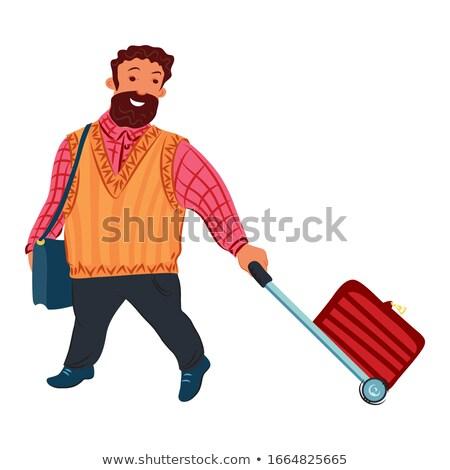 Сток-фото: вектора · стиль · иллюстрация · бородатый · человека · сумку