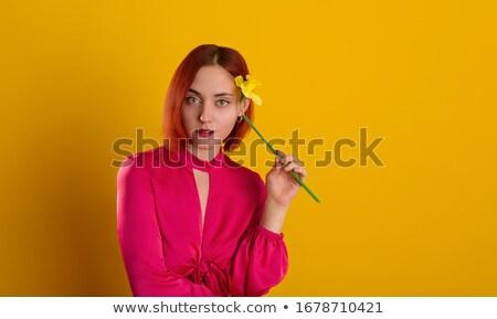 Stock fotó: Divat · portré · fiatal · nő · tart · virágok