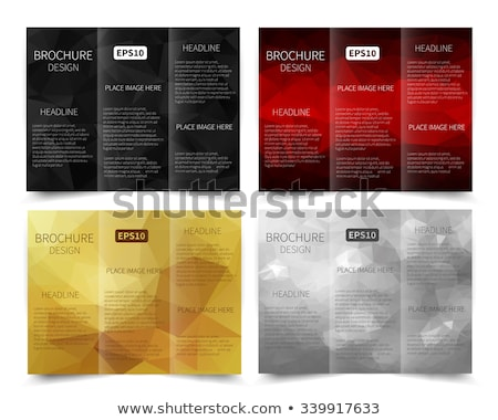 abstract black mosaic style tri fold brochure design template Stock photo © SArts