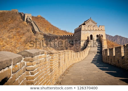 mutianyu great wall blue sky near beijing china stock photo © qingwa