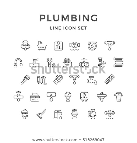 Plumbing icons set Stock photo © ayaxmr