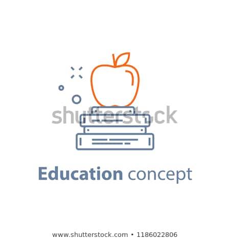 vector illustration of apple on books stock photo © sonya_illustrations