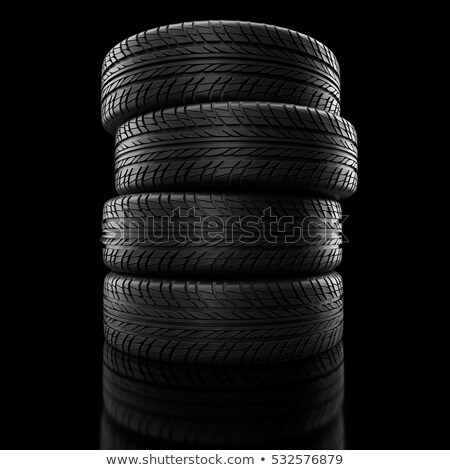 Car winter wheels, black background. 3D rendering Stock photo © user_11870380