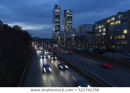 Drukke weg kantoorgebouw München Duitsland Blauw Stockfoto © haraldmuc