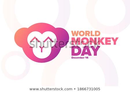 állat · skicc · boldog · majom · illusztráció · háttér - stock fotó © olena