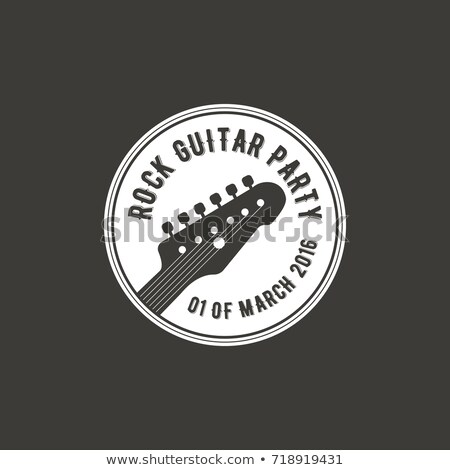 rock guitar party vector label badge emblem logo with musical instrument stock vector illustratio stock photo © jeksongraphics