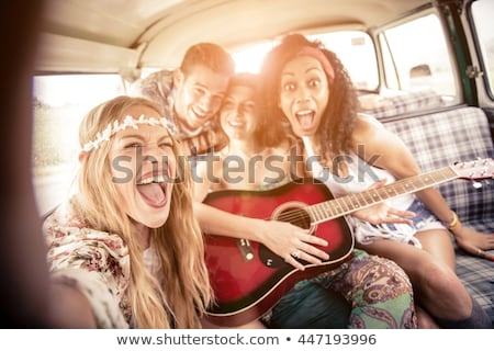 multiethnic girls in retro minivan Stock photo © LightFieldStudios