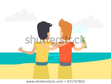 legjobb · barátok · ölel · kettő · boldog · lányok · felirat - stock fotó © robuart