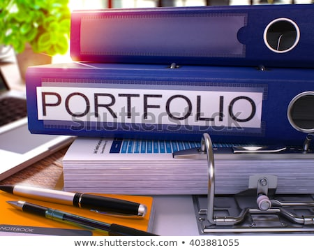 Blauw ring opschrift portefeuille werken tabel Stockfoto © tashatuvango