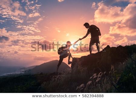 kobieta · turystyka · sukces · sylwetka · górskich · górę - zdjęcia stock © blasbike