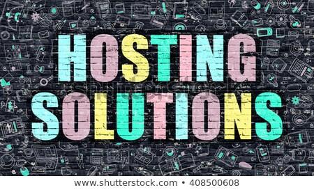 hosting solutions concept with doodle design icons stock photo © tashatuvango