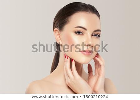 mooi · meisje · heldere · levendig · paars · make · mooie - stockfoto © svetography