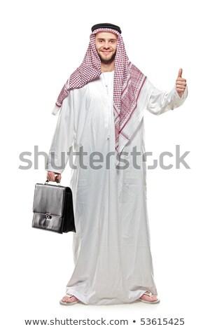 Gesto orientale imprenditore isolato bianco Foto d'archivio © studiostoks