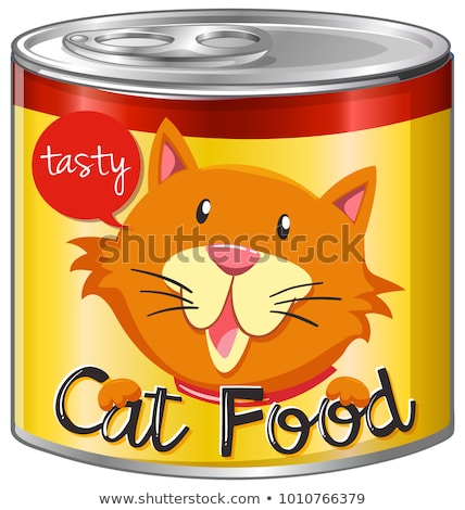 Cat food in aluminum can with yellow label Stock photo © bluering