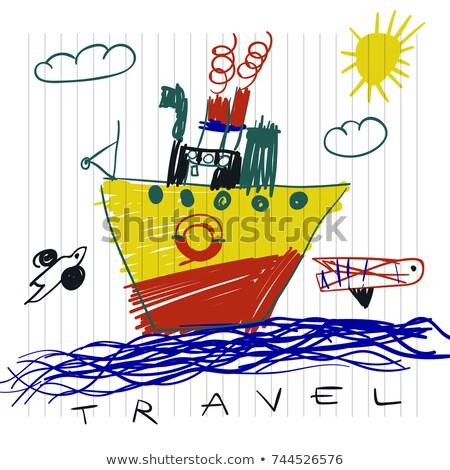 viajar · em · torno · de · fundo · avião · mala · passaporte - foto stock © ikopylov