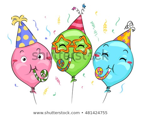 талисман шаров вечеринка воздуходувка иллюстрация Сток-фото © lenm