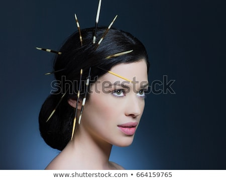 Young woman with porcupine quills in hair Stock photo © IS2
