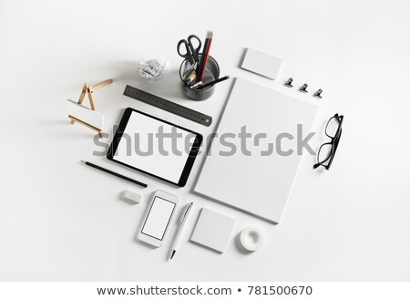 Stock foto: Pens And Scissors In Holder