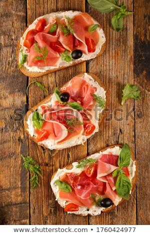 prosciutto · vintage · houten · groene · olijfolie - stockfoto © m-studio