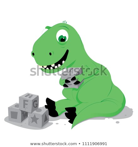 cute baby dinosaur playing with stone cube toys stock photo © pcanzo