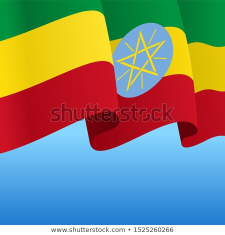 Ethiopië lint vlag blauwe hemel ontwerp kunst Stockfoto © doomko