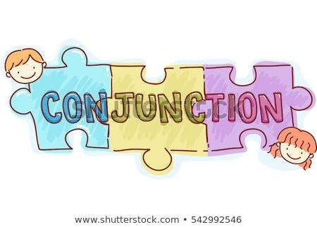 Conjunction Puzzles Stickman Kids Stock photo © lenm