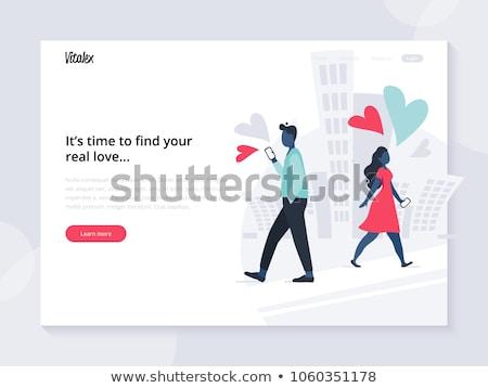 çevrimiçi kalma hareketli uygulaması iniş sayfa Stok fotoğraf © cienpies