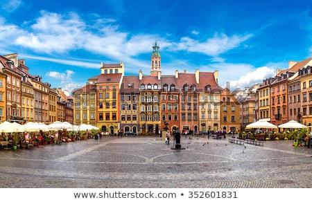 óváros · Varsó · sziluett · Lengyelország · város · otthon - stock fotó © neirfy