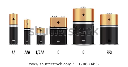 Vector gold and black realistic alkaline battery set, diffrent size isolated on white background. Stock photo © MarySan