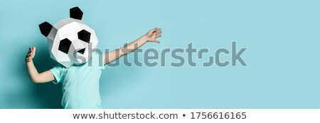 Panda illustratie kind blad achtergrond Stockfoto © bluering