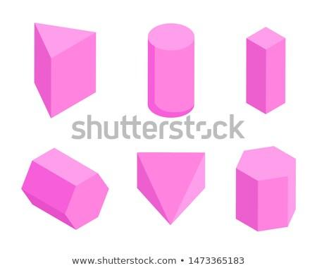 Różowy zestaw sześć geometryczny banner cylinder Zdjęcia stock © robuart