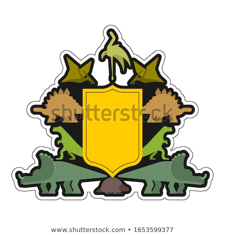 Dinosaur and Shield heraldic symbol. Dino Sign Prehistoric beast Stock photo © MaryValery