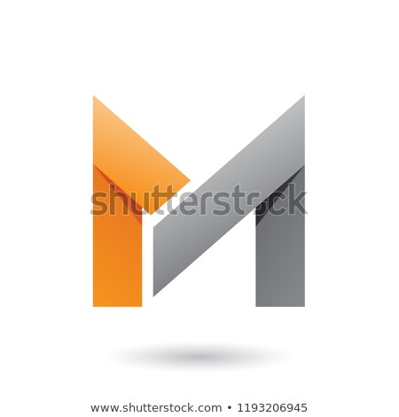 orange and grey folded paper letter m vector illustration stock photo © cidepix