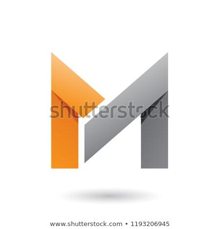 Orange and Grey Folded Paper Letter M Vector Illustration Stock photo © cidepix