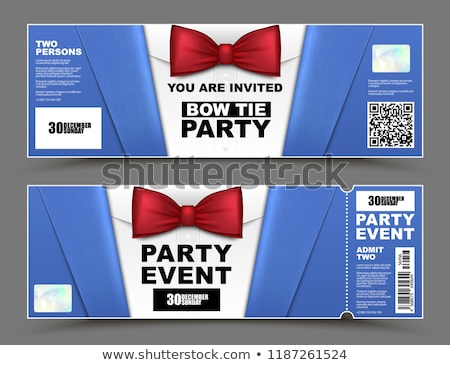 vector horizontal cocktail party event invitations red bow tie official isolated businessmen banner stock photo © iaroslava