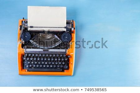 Foto d'archivio: Vintage · arancione · macchina · da · scrivere · caffè · notebook