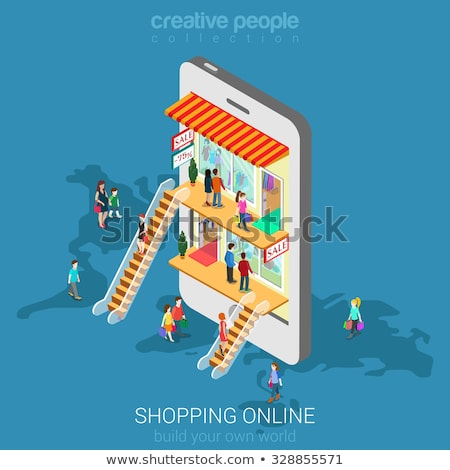 Stock photo: Shopping online flat isometric vector conceptual illustration.