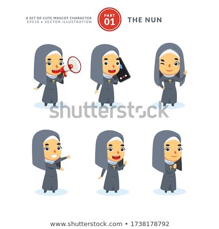 Triste cartoon suora illustrazione guardando donna Foto d'archivio © cthoman