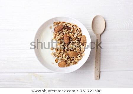 Közelkép nyers kása zab gabonapehely diétázás Stock fotó © artjazz