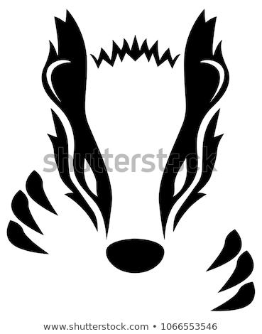 Zły miodu borsuk maskotka ikona ilustracja Zdjęcia stock © patrimonio