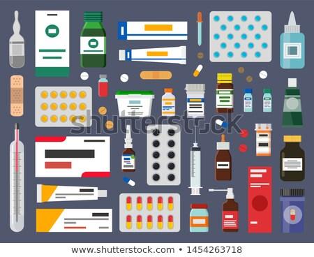 Tabletták gyógyító kenőcs szirup üvegek steril Stock fotó © robuart