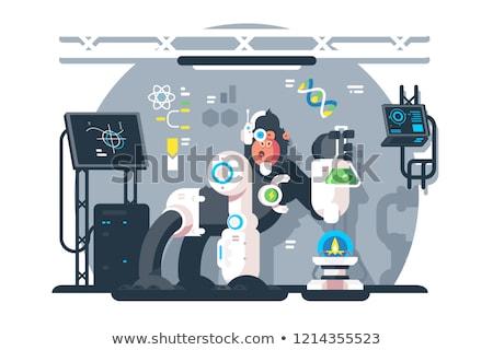 Robot majom tudós gyártmány laboratórium kísérlet Stock fotó © jossdiim